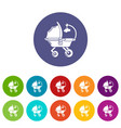 baby carriage cute icons set color vector image vector image