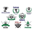 Billiard game or poolroom icons and symbols vector image vector image
