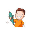 boy in orange t-shirt with green rubber gecko vector image vector image