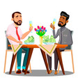 business lunch two people at the table with vector image vector image
