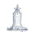 cemetery gravestone with stone cross sketch vector image vector image