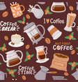 coffee seamless pattern cup with cappuccino vector image vector image