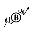 contour financial arrow up to bitcoin currency vector image vector image