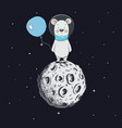 cute bear with balloon stand on moon vector image vector image