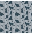 Cute cats silhouettes seamless pattern vector image