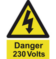 danger 230 volts safety sign vector image vector image