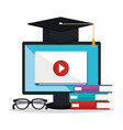 electronic education with computer desktop vector image vector image