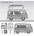 food truck with hot-dog on street line vector image vector image