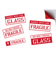 fragile handle with care retro sticker box vector image vector image