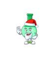 friendly green chemical bottle santa cartoon vector image vector image