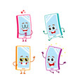 funny cartoon mobile phone smartphone character vector image vector image