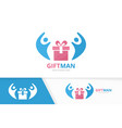 gift and people logo combination present vector image vector image