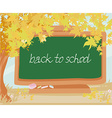 green chalkboard with autumn leaves vector image