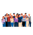 group portrait view hugging men and women vector image