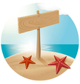Guidepost at the beach with the sea stars vector image vector image