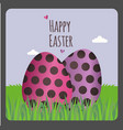 happy easter greeting card with two eggs vector image vector image