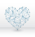 heart made with connected dots on white background vector image vector image