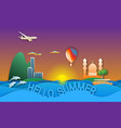Hello summer travel in paper cut style sunset
