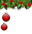 Holly and fir with Christmas balls on white vector image vector image