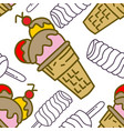 ice cream pattern seamless template vector image vector image