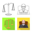 isolated object of law and lawyer icon set of law vector image vector image