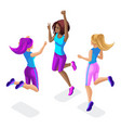 isometric of a girl friend fitness jumping runn vector image