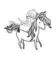 line cute sweet unicorn with girl sleeping vector image vector image