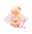 lovely baby girl holding pink heart cartoon cupid vector image vector image