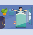 man wakes up in morning and stretching in bed vector image vector image