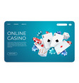 online casino web landing page template for vector image vector image