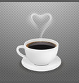 realistic coffee cup hot heart steam white vector image vector image