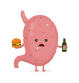 sad unhealthy sick stomach with bottle vector image vector image