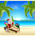 santa relaxing on hot sunny beach vector image vector image