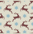 seamless pattern with silhouette deer vector image vector image
