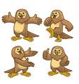 set cartoon character funny owl bird vector image