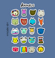 set of animal faces sticker set for your design vector image