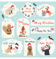 set of christmas new year holiday tags and badges vector image vector image