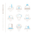 set of headwear icons and concepts in mono thin vector image vector image