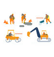 set workers on road repair construction roller vector image