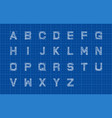 sketch alphabet or font over blueprint paper vector image