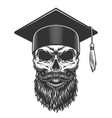 skull in the graduated hat vector image