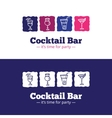 trendy cocktail bar logo in doodle style vector image vector image