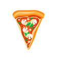 triangle slice of pizza with mushrooms basil vector image vector image