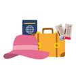 vacations suitcase passport tickets vector image vector image