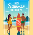 vintage summer poster with couple vector image