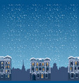 winter night landscape silhouettes of houses the vector image vector image