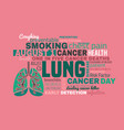 world lung cancer day vector image vector image