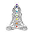 yoga woman ornate silhouette sitting in lotus vector image