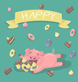 funny little pig character hugiing a lot of sweets vector image