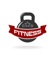Gym fitness weight logo template with ribbon for vector image